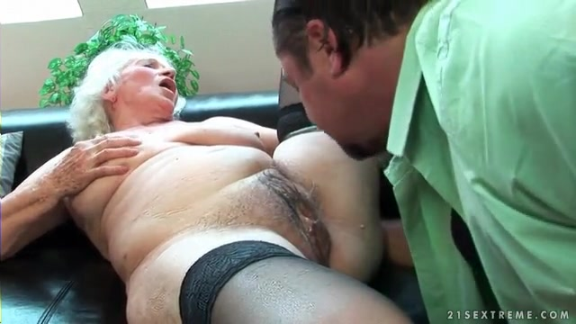 Licking grannies hairy pussy